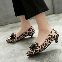 Sexy Bows Decor Leopard Slip on Faux Suede Pointy Toe Womens Kitten Heel Shoes