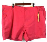 Chams Twill Women's Pink Premium Stretch Fit Shorts Pockets Plus Size 26 NWT