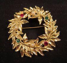 Vintage Red & Green Rhinestone Faux Pearl Christmas Wreath Brooch Gold Tn Leaves