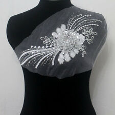 1Pcs Embroidered Tulle Sequins Acrylic 3D Floral Applique Sew On Wedding Dress
