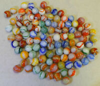 #10712m Vintage Group of 100 Peltier Glass Marbles .60 to .68 Inches