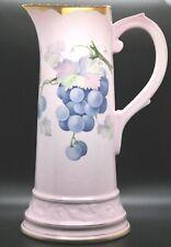 "New listing Vintage Tankard 1900-1930 Tritt Studio Hand Decorated Pink Gold Trim 12 1/4""H"