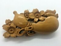 ANTIQUE HAND CARVED BOXWOOD VEGETABLE FLOWERS JAPANESE BROOCH  SIGNED