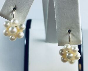 Stunning 14 Kt Yellow Gold Pearl Cluster Earrings