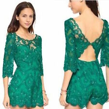 NWT FREE PEOPLE EMERALD SONGBIRD LACE ROMPER 2 $300   SFS