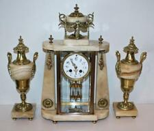 Antique French Garniture Clock Set - Marble with Brass Ormolu Appointments