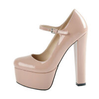 Onlymaker Women Sexy Mary Jane Ankle Strap Buckle Platform High Block Heel Shoes