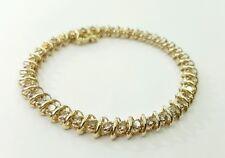 "14K Yellow Gold 3.40 Ct Natural Round Diamond Tennis Bracelet 7.25"""