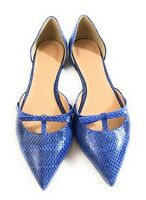 New J Crew E4477 Women D'Orsay Snake Skin Blue Ballet Flats Bow Shoes Size 6