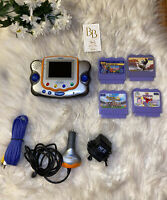 Vtech Vsmile Pocket Learning System & 4 Games, Power Cord, Car Adapter, Cords