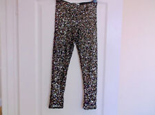 Girls M&S  Black and Silver Sequin Leggings Age 8-9  Excellent Condition