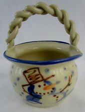 Pottery Snowman Twisted Handle Basket Signed KOVACK CSK 1994 Limited Edt