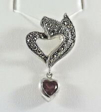STERLING SILVER .925 MARCASITE HEART PENDANT / CHARM - WITH GENUINE GARNET