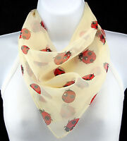 Red Ladybugs Women's Cute Bug Insect Ivory Animal Ladies Square Vanilla Scarves