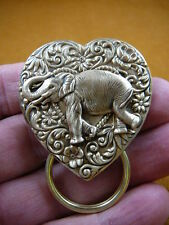 (E-600) circus Elephnat Eyeglass heart flower brass pin pendant ID badge holder