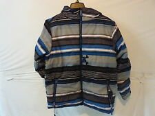 Paul Frank Stripe Puffy Jacket- Boy's XL Royal Skurvy Stripes