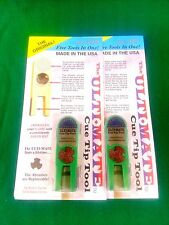 2 NEW ORIGINAL ULTIMATE TIP TOOLS - GREEN ULTI-MATE POOL CUE TIP SHAPER SCUFFER