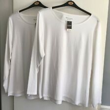 Ladies George Long Sleeve Tops X 2 Nwt White T Shirt Size 24