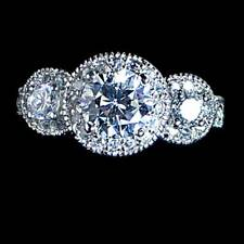 *FANCY CUT*__3-STONE ROUND BRILLIANT CLEAR CZ RING_SZ-5__925 STERLING SILVER
