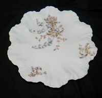 A Lanternier Limoges Plate Dish Candy Dinner Oyster Floral Scalloped Rim Antique