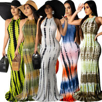 New Women Printed Mock Neck Sleeveless Mermaid Bodycon Elegant Party Long Dress