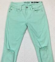 Miss Me Mid-Rise Ankle Skinny Jeans Size 28 Mint Green Ripped Knee Frayed Hem