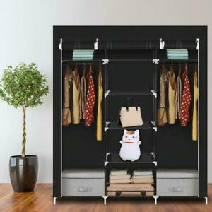 "69"" Portable Clothes Fabric Wardrobe Double Rod Storage Organizer"