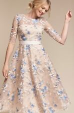 NEW BHDLN Hitherto nude blue Fit Flare Embroidered Flowers Midi Formal Dress 4