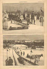 The New Toboggan Slide At Orange, New Jersey, Winter, Vintage 1886 Antique Print