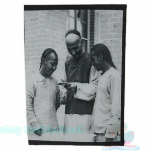 """Matted 8""""x6"""" Old Photograph a Western missionary with Chinese braids China 1910s"""