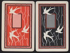 2 Single VINTAGE Swap/Playing Cards BIRDS SWALLOW SILHOUETTE Orange/Black