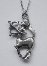 Chain Necklace Pewter ZODIAC #1532 SAGITTARIUS (Nov 23 - Dec 21) 20mm x 34mm