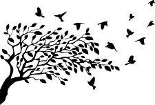 Árbol y pájaros Pegatina Lindos Parachoques van Ventana Pared Portátil De Vinilo En Las JDM