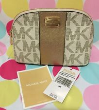 New Michael Kors Met Center Lg Travel Pouch/Cosmetic Case Vanilla/Pale Gold $88