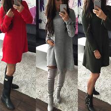 Damen Neu Mode Strickkleid Kleid Langarm Pulli Sweater Tunika Minikleid Pullover