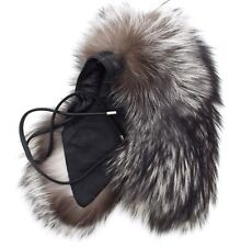 Coach 83189 Women's Authentic Silver Fox Fur and Leather Tie Scarf Collar Stole