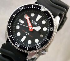 Seiko Large Markers Easy To Read Black Automatic Divers Date Watch Custom 7002