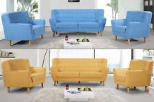 Modern Fabric Sofa Loveseat Tub Accent Armchair 1/2 /3 Seater Blue Yellow Grey