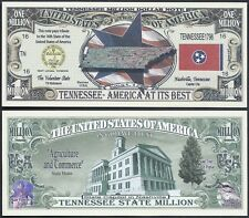 Tennessee State Million Dollar Bill Fake Funny Money Novelty Note + FREE SLEEVE