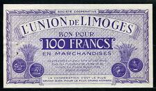 France 1881-1886, 100Frnacs,BON POUR 100 FRANCS en MARCHANDISES UNION de LIMOGES