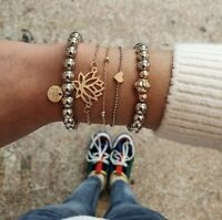 Damen Armbänder 5er Set Perlen Silber Herz Gold Armband Lotos Blüte Schmuck Boho
