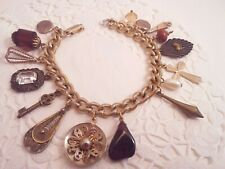 Nouveau Charms Key Glass stone cross Old Vintage Charm Bracelet With Some Art