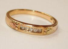 Black Hills Gold 10 kt 12 kt Five Princess Diamonds Wedding Band Ring Size 6