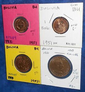 Bolivia quartet if 1951 boliviano coins