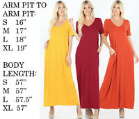 WOMEN SHORT SLEEVE V-NECK SOLID CASUAL STRETCHY KNIT LONG FLOWY FLARE MAXI DRESS
