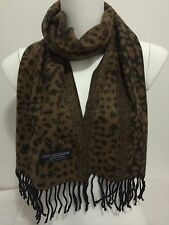 100% CASHMERE SCARF MADE IN SCOTLAND LEOPARD DESIGN COLOR BROWN SUPER SOFT