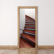 Door Mural Spiral Wooden Staircase - Self Adhesive Fabric Door Wrap Wall Sticker