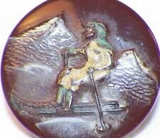 Art Deco Chocolate Milk Glass Picture Button Man Skiing Self Shank Vintage #35