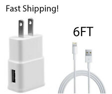 Wall Charger and 6FT 8 PIN USB SYNC Data Cable Cord for iPhone 8 7 5C 5S 6s Plus