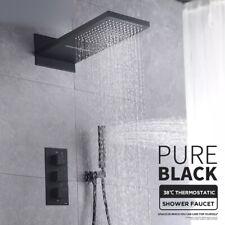 Duscharmatur Unterputz Design Regendusche Wasserfall Duschset Schwarz System